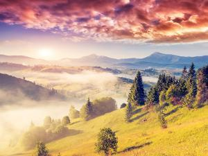 Fantastic Sunny Hills under Morning Overcast Sky. Dramatic Scenery. Carpathian, Ukraine, Europe. Be by Leonid Tit