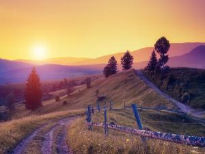 Fantastic Sunny Hills under Morning Sky. Dramatic Scenery. Carpathian, Ukraine, Europe. Beauty Worl by Leonid Tit