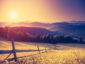 Fantastic Sunny Hills under Morning Sky. Dramatic Scenery. Carpathian, Ukraine, Europe. Beauty Worl by Leonid Tit