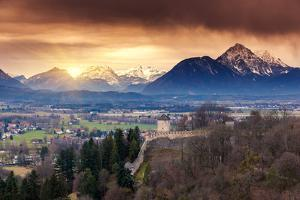Fantastic View of the Historic City of Salzburg. Austria, Europe. Beauty World. by Leonid Tit