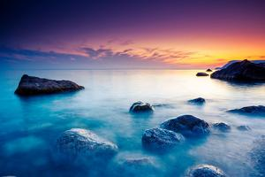 Majestic Summer Sunset over the Sea. Dramatic Sky. Crimea, Ukraine, Europe. Beauty World. by Leonid Tit