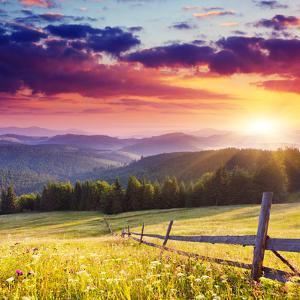 Majestic Sunset in the Mountains Landscape.Carpathian, Ukraine. by Leonid Tit