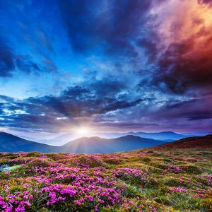 Majestic Sunset in the Mountains Landscape. Overcast Sky before Storm. Carpathian, Ukraine, Europe. by Leonid Tit