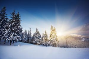 Majestic Sunset in the Winter Mountains Landscape. HDR Image by Leonid Tit