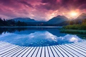 Mountain Lake in National Park High Tatra. Dramatic Overcrast Sky. Strbske Pleso, Slovakia, Europe. by Leonid Tit
