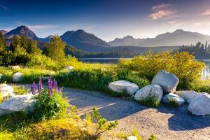Mountain Lake in National Park High Tatra. Strbske Pleso, Slovakia, Europe. Beauty World. by Leonid Tit