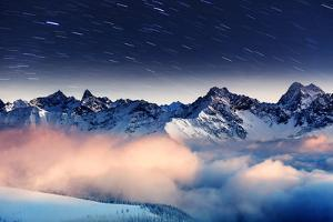 The Milky Way over the Winter Mountains Landscape. Europe. Creative Collage. Beauty World. by Leonid Tit