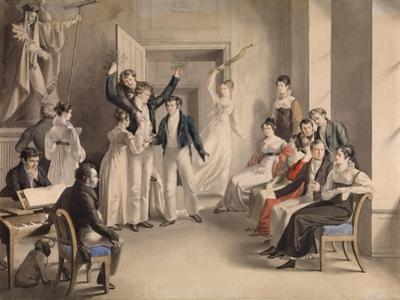 Franz Schubert (1797-182). Party Game of the Schubertians in Atzenbrugg, 1821
