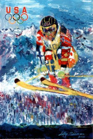 U.S. Olympic Ski Jumper by LeRoy Neiman
