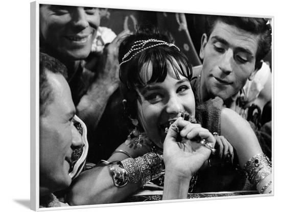 Les Godelureaux by ClaudeChabrol with Bernadette Lafont, 1961 (b/w photo)--Framed Photo