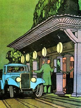 At a Filling Station, C1930 by Leslie Carr