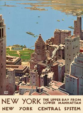 New York, USA - The Upper Bay, Lower Manhattan - New York Harbor -New York Central System by Leslie Darrell Ragan