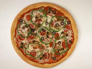 Pizza with Onions, Olives, Peppers and Pepperoni by Leslie Harris