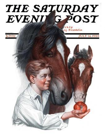 """""""Boy Feedy Apple to Horses,"""" Saturday Evening Post Cover, July 14, 1923"""