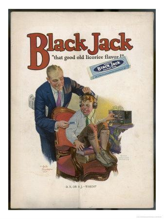 Boy is Torn Between His Addiction to His Radio Set and the Bar of Black Jack Liquorice