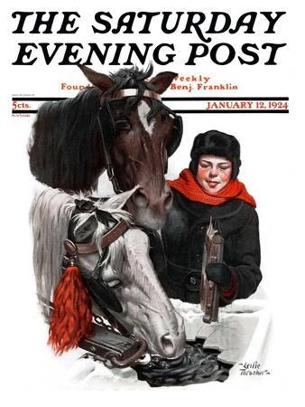 """""""Boy Watering Horses,"""" Saturday Evening Post Cover, January 12, 1924"""