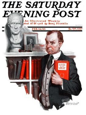 """""""'Lives of the Saints',"""" Saturday Evening Post Cover, February 24, 1923 by Leslie Thrasher"""