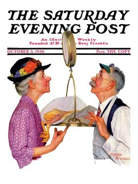 """Tipping the Scales,"" Saturday Evening Post Cover, October 3, 1936 by Leslie Thrasher"