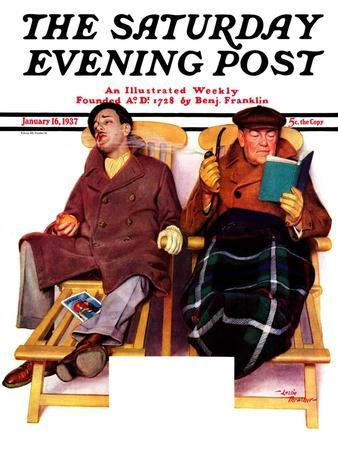 """""""Two Men in Deck Chairs,"""" Saturday Evening Post Cover, January 16, 1937"""