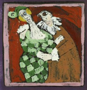 Harlequin and the Doctor (Commedia Dell'Arte) by Leslie Xuereb