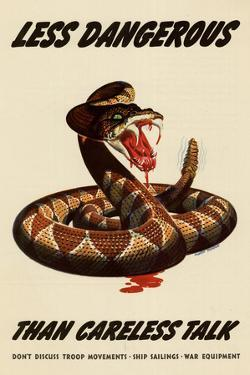 Less Dangerous Than Careless Talk Snake WWII War Propaganda