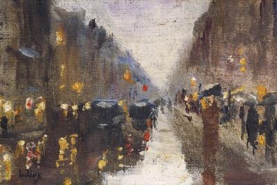 A Berlin Street in the Rain with Traffic; Berliner Strasse Beim Regen Mit Kutschen