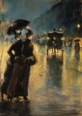 A Berlin Street Scene by Night with Coaches by Lesser Ury