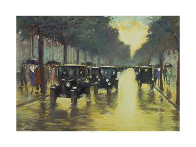 Berlin Street Scene with Cars in the Evening