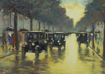 Berlin Street Scene with Cars in the Evening by Lesser Ury