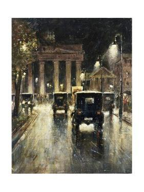 The Brandenburg Gate, Berlin, Germany, at Night by Lesser Ury