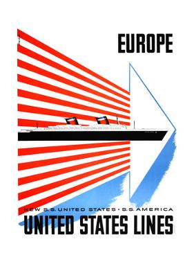 Europe - New S.S. United States Ca. 1952 by Lester Beall