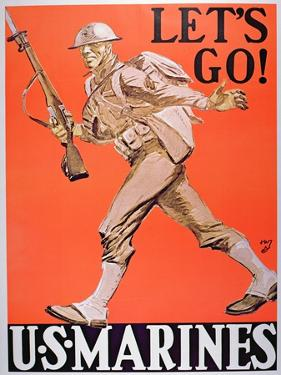 Let's Go!' Us Marines World War One Recruitment Poster