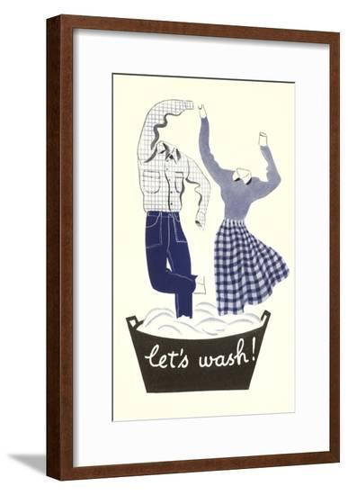Let's Wash! Dancing Laundry--Framed Giclee Print
