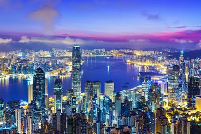 Hong Kong City Skyline during Sunrise by leungchopan