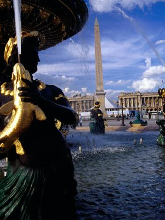 Fountain with Luxor Obelisk and Place De La Concorde in Background, Paris, France