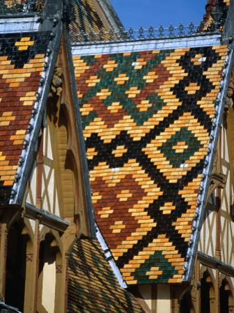 Multi-Coloured Tile Roof of Charity Hospital Hotel Dieu, Beaune, France