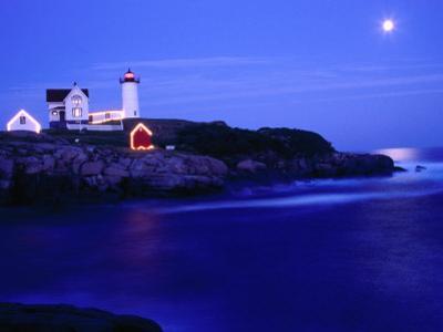 Nubble Lighthouse Alight Underneath Moon-Lit Sky, Cape Neddick, USA
