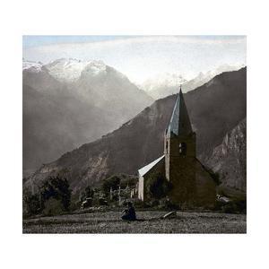 The Alpe-D'Huez (Isère, France), Saint-Ferreol Chapel, Circa 1890-1895 by Levy et Fils Leon
