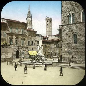 The Piazza Della Signoria and the Neptune Fountain, Florence (Italy), Circa 1895 by Levy et Fils Leon