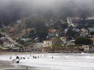 Surfers at Linda Mar Beach, Pacifica, California, United States of America, North America by Levy Yadid