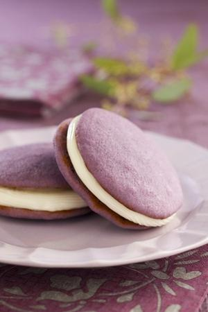 Two Lavender Whoopie Pies on a Plate