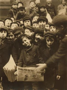 Newsies at the Paper Office, Bank Alley, Syracuse, New York, c.1910 by Lewis Wickes Hine