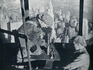 'Rivetting the last bolts on The Morning Mast of the Empire State building', c1931 by Lewis Wickes Hine