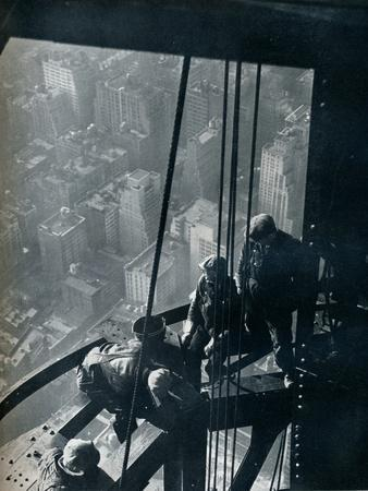 'The final stages of the Mast; the street is some quarter mile below', c1931