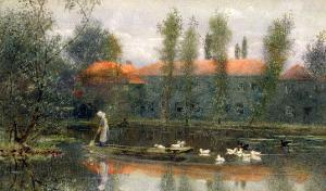 The Pond of William Morris Works at Merton Abbey by Lexden L^ Pocock