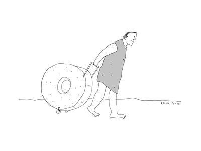 Cavemen wheels stone wheel suitcase. - New Yorker Cartoon
