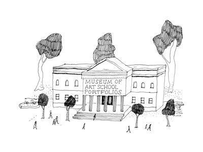 "Museum with the title ""Museum of Art School Portfolios"". - New Yorker Cartoon"
