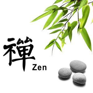 Bamboo Leafs and Zen Stones Isolated on White,The Chinese Word Means Zen. by Liang Zhang