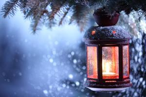 Christmas Lantern With Snowfall,Closeup by Liang Zhang