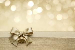 Golden Ribbon Bow with Bokeh, Christmas Decoration by Liang Zhang